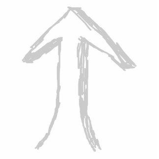Flecha que destaca. Gris en blanco Fotoescultura Vertical