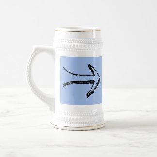 Flecha que señala a la derecha, negro y azul jarra de cerveza
