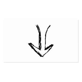 Flecha que señala abajo. Blanco y negro. Tarjetas De Visita