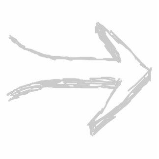 Flecha que señala al derecho gris esculturas fotográficas