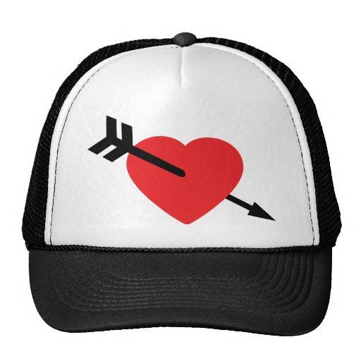 Flecha roja de Amor del amor del corazón Gorros Bordados