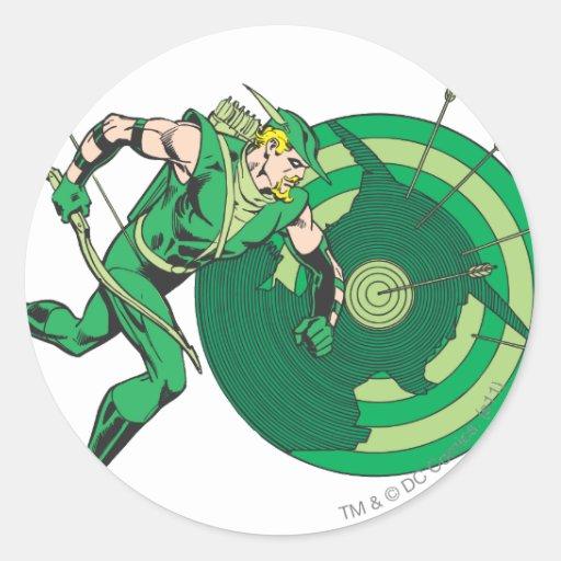 Flecha verde con la blanco 2 pegatina redonda