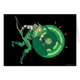 Flecha verde con la blanco 2 tarjeta de felicitación