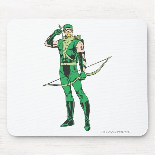 Flecha verde con la blanco alfombrillas de ratones