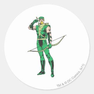 Flecha verde con la blanco etiquetas redondas