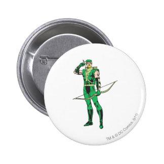 Flecha verde con la blanco pin redondo de 2 pulgadas