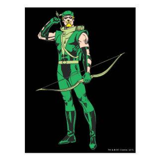 Flecha verde con la blanco postal