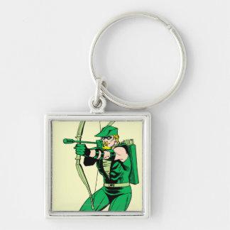 Flecha verde del tiroteo de la flecha llavero cuadrado plateado