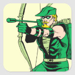 Flecha verde del tiroteo de la flecha pegatina cuadrada