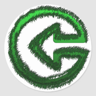 flecha verde pegatina redonda