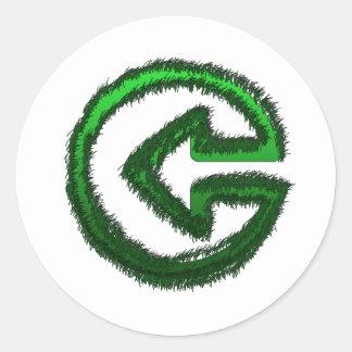 flecha verde etiqueta redonda