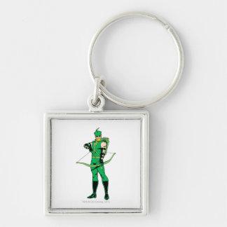 Flecha verde que se coloca con el arco llavero cuadrado plateado