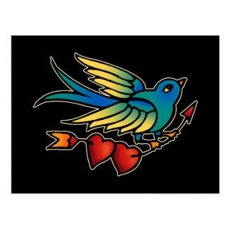 Flecha y corazones del pájaro postales