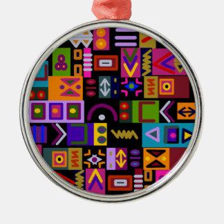 flecha y líneas con el mosaico del collage de las adorno navideño redondo de metal