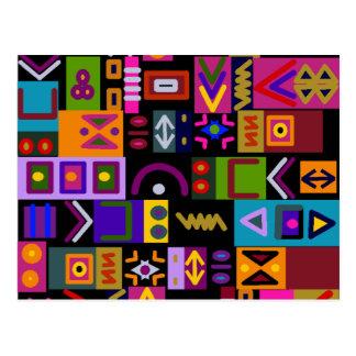 flecha y líneas con el mosaico del collage de las postal