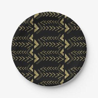 Flechas atractivas de la acuarela del oro negro plato de papel de 7 pulgadas