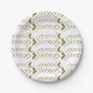 Flechas atractivas de la acuarela del oro plato de papel de 7 pulgadas