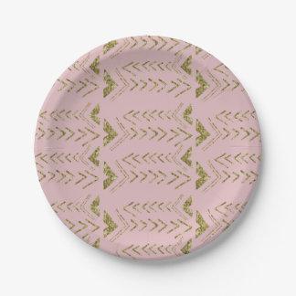 Flechas atractivas de la acuarela del oro rosado plato de papel de 7 pulgadas