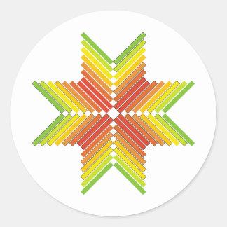 flechas coloridas anaranjadas rojas del verde pegatinas redondas