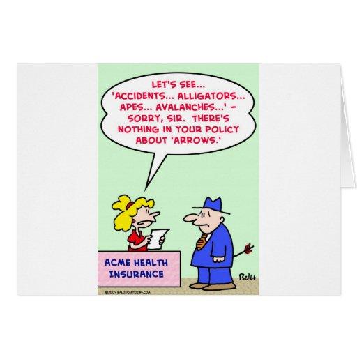 flechas de la póliza de seguro tarjeta de felicitación