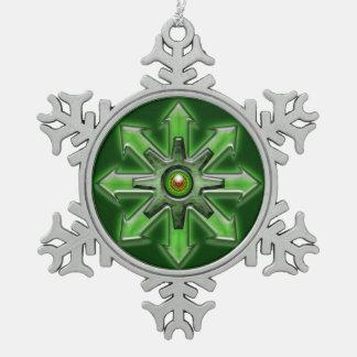 Flechas del caos - verde adorno de peltre en forma de copo de nieve