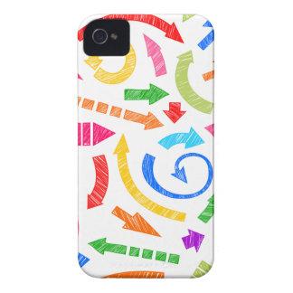 Flechas garabateadas coloridas iPhone 4 cárcasas
