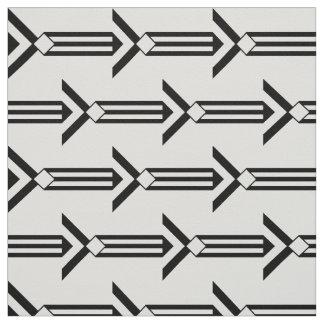Flechas geométricas negras en la tela blanca telas