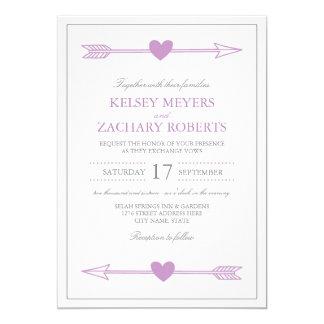 """Flechas preciosas que casan la invitación/la lila invitación 5"""" x 7"""""""