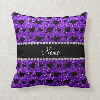 Flechas púrpuras de los corazones del brillo del a almohadas