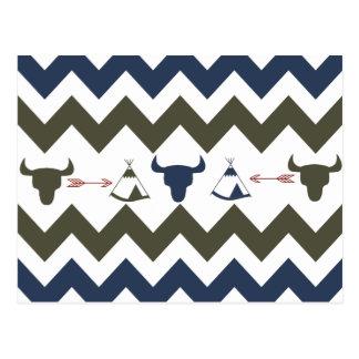 Flechas tribales del tipi de los cráneos de Chevro Tarjeta Postal