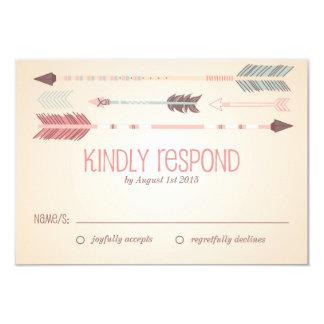 Flechas tribales del vintage que casan la tarjeta invitación personalizada