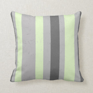 Flecked Stripes Charcoal and Light Grey Mint Green Throw Pillow