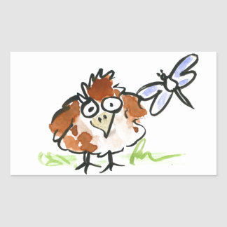 Fledgling Bird and a Dragonfly Rectangular Sticker