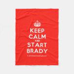 [Crown] keep calm and start brady  Fleece Blanket