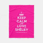 [Knitting crown] keep calm and love shelby  Fleece Blanket