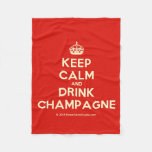 [Crown] keep calm and drink champagne  Fleece Blanket