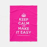 [Crown] keep calm and make it easy  Fleece Blanket