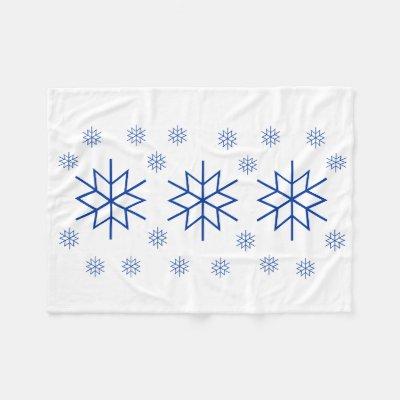 Fleece Blanket - Blue Snowflake
