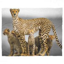Fleece Blanket/Cheetah & Cubs