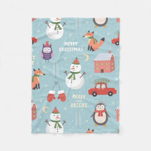 Fleece Blanket - Christmas Critters Throw Blanket