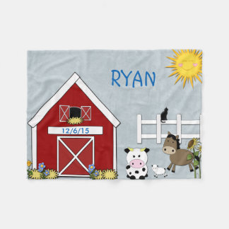 Fleece Blanket Farm Animals, Horse, Cow Lamb.