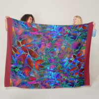 Fleece Blanket Floral Abstract Stained Glass