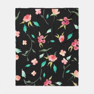Fleece Blanket Watercolor Flower Fields, Black