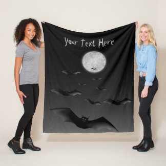 Fleece Blanket with Spooky Bats and Moon