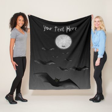 Halloween Themed Fleece Blanket with Spooky Bats and Moon