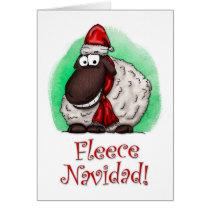 Fleece Navidad Cartoon Sheep Holiday Card