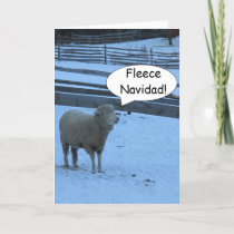 Fleece Navidad Christmas card with Sheep