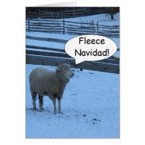 Fleece Navidad Christmas card with Sheep
