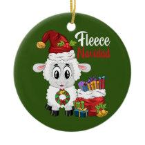 Fleece Navidad Feliz Navidad Pun Christmas Sheep Ceramic Ornament