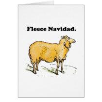 Fleece Navidad Golden Christmas Sheep Cartoon Card